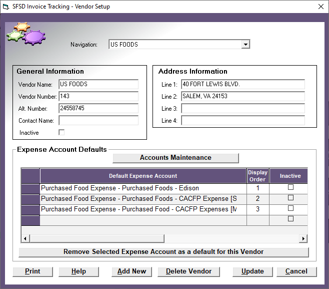 sfsd invoice tracking module help